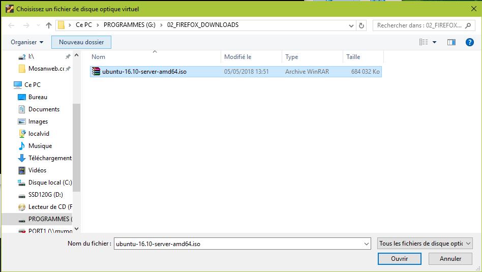 Choisir l'image ISO de Ubuntu Server