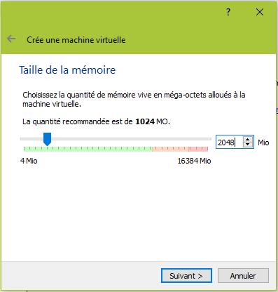 Choisissez la mémoire RAM pour votre machine virtuelle