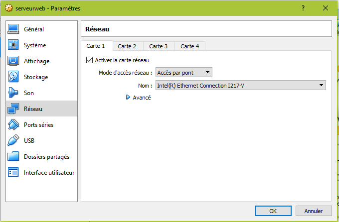Configuration du réseau de la VM