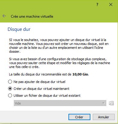 Création du disque dur pour votre VM