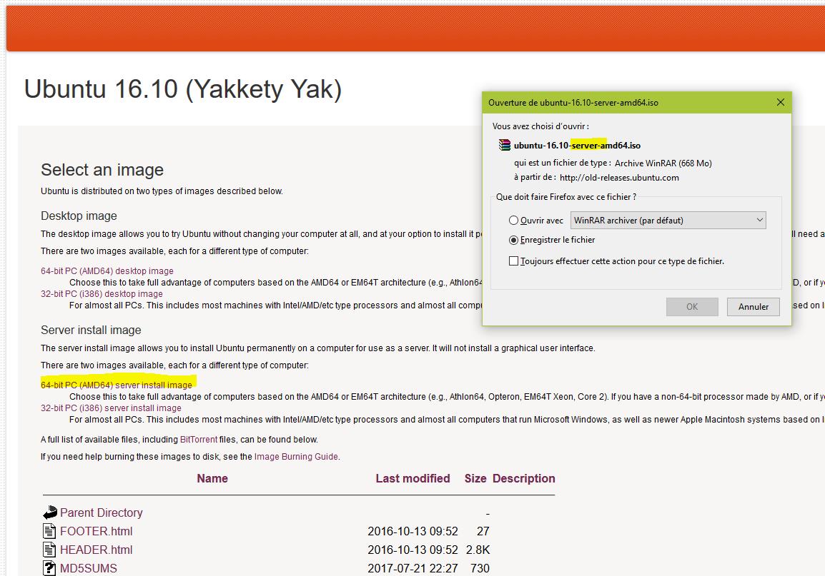 Page de téléchargement d'Ubuntu Server 16.10