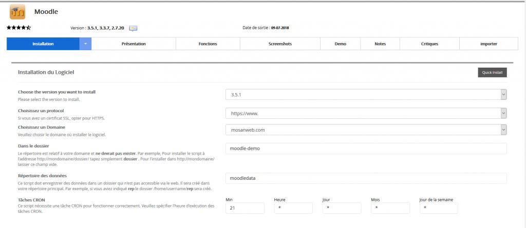 Première partie de la configuration: l'accès au site
