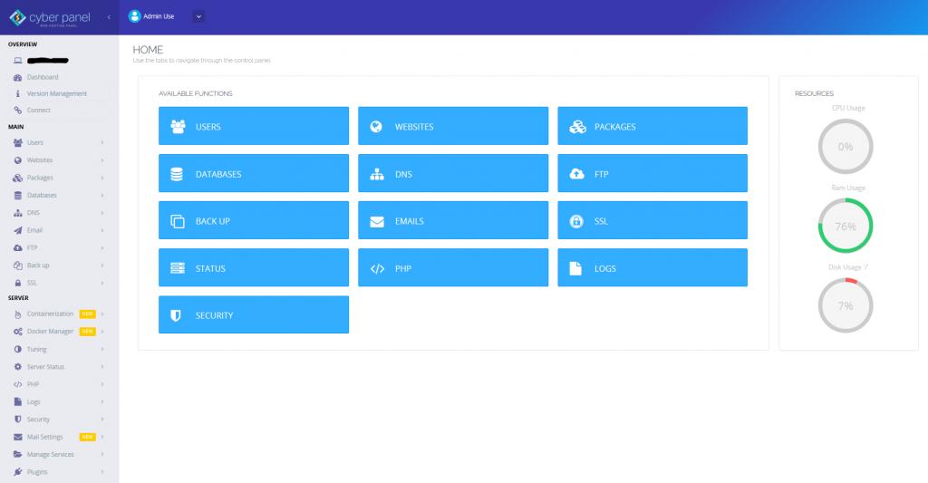 Page de l'interface d'administration