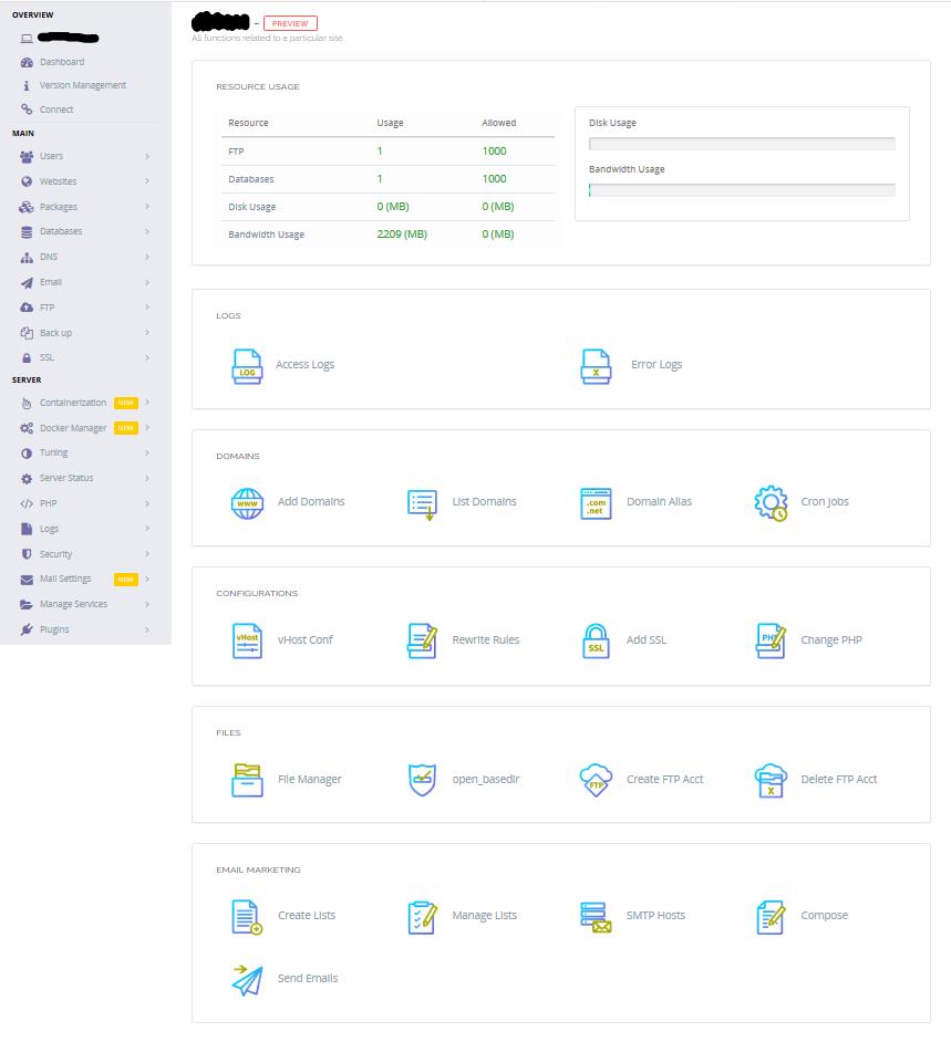 Interface d'administration d'un site Web